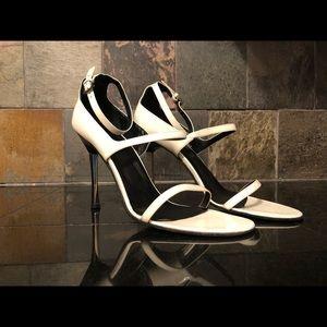 Gucci stiletto heel sandals white black chrome